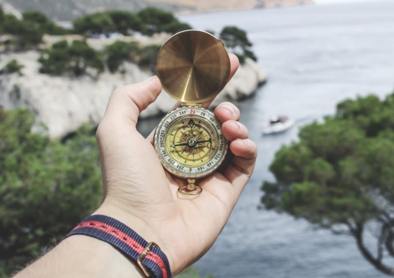 Compass to help you read a map if you get lost.